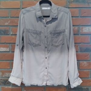 Billy T ombre grey/pink pinstripe tie back top